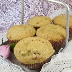 Tuxedoville's Rhubarb Muffins Recipe - Rhubarb is an abundant producer, and these yummy muffins are a great way to use some up quickly.