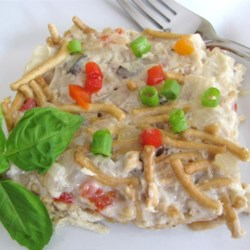 Chicken and Chinese Noodles Casserole Recipe - You can have a baked casserole completed in under an hour using rotisserie chicken, chow mein noodles, and cream of mushroom soup.
