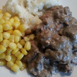 Onion Elk Roast Stroganoff Recipe - I'm always looking for good ways to empty the freezer of the wild game that hubby brings home. This is easy and can cook all day in the crock pot. Serve it over egg noodles, mashed potatoes, or rice.