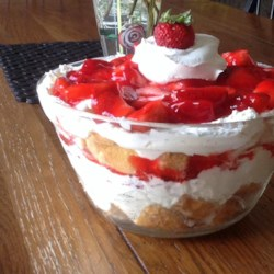Strawberry Angel Food Dessert Recipe - Angel food cake pieces are topped with sweetened cream cheese, whipped topping and strawberries in this chilled, layered dessert.
