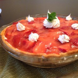 Rock Creek Lake Fresh Strawberry Pie Recipe - Sweet strawberries are blended with strawberry juice and layered over a cream cheese filling for a colorful and unique dessert.