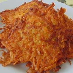 Curried Sweet Potato Latkes Recipe - These seasoned sweet potato patties are a spicy version of a traditional Jewish favorite.