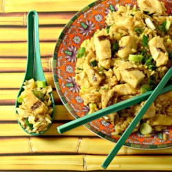 Hibachi-Style Fried Rice Recipe - Hibachi-style fried rice cooked with chicken, green onions, and eggs is a quick and easy side dish to an Asian-inspired meal.