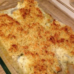 Baked Flounder with Panko and Parmesan Recipe - Golden brown bread crumbs and Parmesan cheese make a terrific crust for this simple baked flounder.