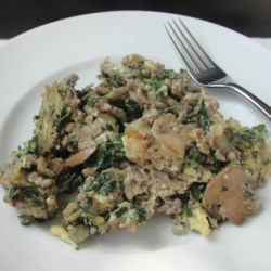 Joe's Special Beef and Spinach Scramble Recipe - Chef John's take on the famous Joe's Special includes eggs scrambled with ground beef, spinach, and mushrooms.