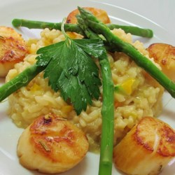 Lemon Asparagus Risotto Recipe - The bright, fresh flavors of asparagus and lemon permeate this creamy rice dish. Try not to rush this dish, it's worth the wait.