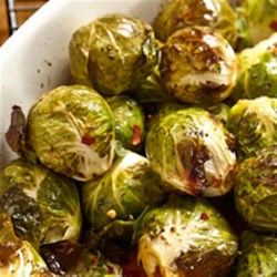 Roasted Brined Brussels Sprouts Recipe - A brining solution with soy sauce and sugar brings out all the flavor of these crisp but tender roasted Brussels sprouts.