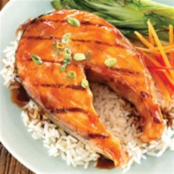 Teriyaki Ginger Salmon Marinade Recipe - Grated fresh ginger root and brown sugar mixed with a prepared teriyaki sauce makes a tangy marinade for salmon or other seafood steaks.