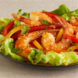 Spicy Thai Shrimp Salad Recipe - Jumbo shrimp are brined, roasted, then tossed  with colorful bell peppers and cilantro in a zesty lemony soy-sesame dressing.