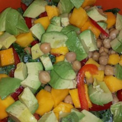 Summer Kale, Avocado,Mango and Chickpea  Salad with Citrus Poppy Seed  Vinaigrette