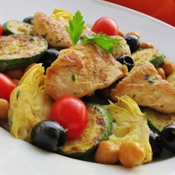 Zucchini Artichoke Summer Salad Recipe - Pan-fried zucchini and chicken breasts are tossed with olives, artichoke hearts, and Parmesan cheese for a Mediterranean-inspired salad.