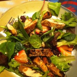 Amy's Sensational Summer Salad Recipe - Grilled chicken breasts, romaine lettuce, and a fantastic blend of fruit and feta cheese make this salad perfect for summer meals!