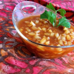 Sher-a-Punjab Onion Chutney Recipe - Quick and easy onion chutney made with ketchup and a hint of heat from cayenne pepper is an Indian-inspired accompaniment to toast.