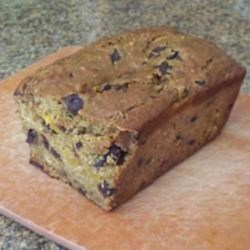 Drunken Chocolate Pumpkin Bread Recipe - Creme de cacao helps deliver added moistness to this roasted-pumpkin bread with chocolate chips.