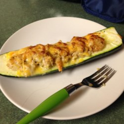 Seafood Stuffed Zucchini Recipe - Melted Monterey Jack cheese tops zucchini halves stuffed with a rich mixture of crabmeat and shrimp.