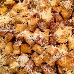 Chef John's Homemade Croutons  Recipe - Chef John's homemade garlic-parmesan croutons are easy to make and the perfect crunchy topper for salads and soups.