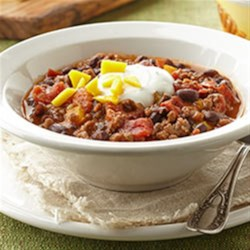 Beef and Black Bean Chili with Lime Crema