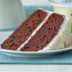 Double Chocolate Cake with Creamy Frosting Recipe - A one-two punch of VOSKOS(R) Nonfat Vanilla Greek Yogurt--in the cake and in the frosting--adds richness and a hint of vanilla to this elegant layer cake. Make this cake mix fix-up for a birthday or an everyday celebration.
