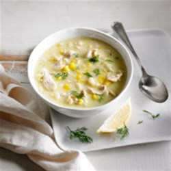 Creamy Orzo, Corn and Chicken Soup Recipe - Come the winter months nothing hits the spot more than a steaming bowl of hearty soup. Serve with crusty bread and a crisp green salad.