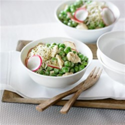 Japanese-Style Pea Salad Recipe - Tender green peas show up in mid-summer. Here they are tossed with a Japanese-style dressing in a salad that highlights their flavour and adds a fresh touch to your meal.