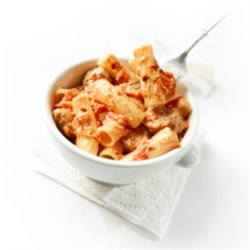 Rigatoni with Chorizo Tomato Sauce Recipe - This may become your go-to pasta. If chorizo is too spicy, by all means substitute sweet Italian and eliminate the chili flakes altogether.