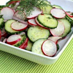 Summer Radish Salad Recipe - Sliced radishes, red onion, and cucumber make a refreshing salad with a bite.