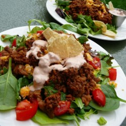 Lazy Katie's Taco Salad Recipe - You do not need to be lazy to appreciate the simplicity of this quickly prepared meal. Browned ground beef is layered with tortilla chips, shredded lettuce, tomatoes, cheese, onions, and taco sauce.