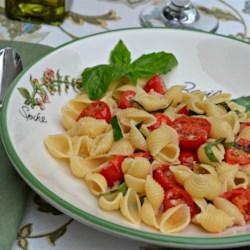 White Fiber Mini Shells with Cherry Tomatoes, Basil and Parmigiano-Reggiano