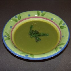 Asparagus Soup II Recipe - The tips of the fresh asparagus in this recipe are reserved to use as garnish with this pureed soup made with leeks and white rice cooked in broth or water.