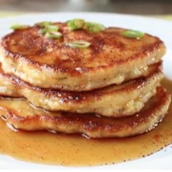 Mancakes Recipe - Chef John's Mancakes-sweet-and-savory cornmeal pancakes made with bacon, cheese, and green onions--are perfect for big appetites and special breakfasts.