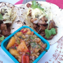 California Fusion Peach Salsa Recipe - This fusion peach salsa combines hot and sweet Asian flavors. It's great as a dip with tortilla chips or served as a garnish with meat dishes.