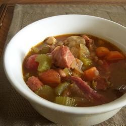The Best Bean and Ham Soup Recipe and Video - I make this hearty soup using the ham bone from our Easter spiral ham.  It makes a huge pot of soup, so invite some friends or just freeze several portions for later use.