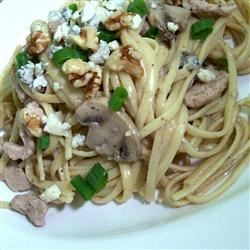 Pork with Linguine and Blue Cheese Mushroom Sauce Recipe - Blue cheese elevates pan-seared pork and pasta to an elegant, but simple, entree.