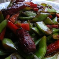 Stir-fried long beans with Chinese sausages and carrot