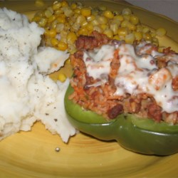 Stuffed bell pepper with mashed potatoes and corn