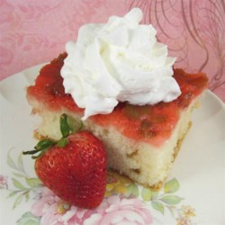 Rhubarb Upside Down Cake II Recipe - A fun summer cake for kids to help make, using fresh rhubarb, strawberry gelatin, marshmallows and cake mix. When you cut it and take it out of the pan, flip the piece over so the rhubarb is on top.