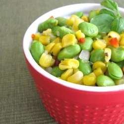 Grilled Corn and Edamame Succotash Salad Recipe - Grilled corn and edamame are tossed in a simple vinaigrette that makes a delightful succotash salad for summer evenings.