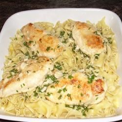 Garlic Chive Chicken Recipe - These flavorful chicken breasts are bathed in a lemony garlic butter.  Easy to make, they are great for a light dinner.
