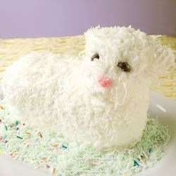 Easter Lamb Cake II Recipe - This white cake is baked in a lamb mold for Easter and can be decorated to look like a little lamb. If desired, spices can be added just before adding the egg whites.  Some good choices are anise, nutmeg or cinnamon.