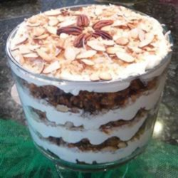 Carrot Cake Trifle Recipe - Carrot cake trifle made with vanilla pudding, toasted almonds and coconut, and toffee bits is a fun twist on the traditional carrot cake.