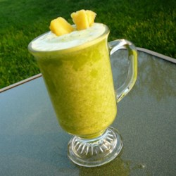 Banana Pineapple Green Blend Recipe - This quick and easy green smoothie with pineapple makes a great snack.