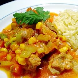 Harvested Chicken Stew Recipe - Jam packed with veggies as well as chicken breast and tomatoes, this is a healthy, hearty quick stew.