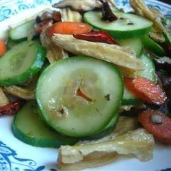Stir-fried tofu sticks with cucumber, carrot and shiitake mushrooms
