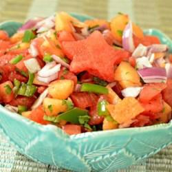 Watermelon Tomato Salsa Recipe - Watermelon and cantaloupe add sweetness to this salsa recipe.