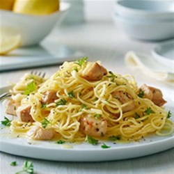 Angel Hair Pasta with Lemon and Chicken (Lighter) Recipe - The fresh flavor burst of lemon perfectly accents the chicken and angel hair pasta in this quick and easy dish. Serve with a generous topping of Parmesan cheese and a tossed green salad.