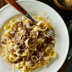 Fettuccine and Sweet Italian Sausage with Light Alfredo Sauce