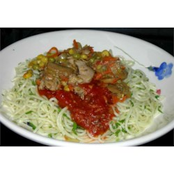 Chicken Spaghetti IV Recipe - Chicken breast sauteed with mushroom, bell pepper and onion, then stirred into hot angel hair pasta and spaghetti sauce. A tasty, quick and simple recipe that I received from a friend. Serve with garlic bread, if desired.