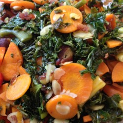 Green Beans, Carrots, and More Recipe - This side dish recipe has the promised green beans and carrots tossed with a buttery mixture of green onions, ginger, almonds, kale, and bacon.