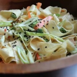 Yuba Noodle Salad Recipe and Video - Slice yuba (tofu skin) and toss with carrots, green onion, cabbage, and peanut-ginger dressing to make Chef John's recipe for yuba noodle salad.