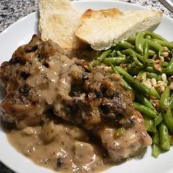 Stuffed Pork Chops I Recipe - Skillet browned pork chops with bread cubes, butter, chicken broth, celery, onion and mushroom soup, then baked to perfection.  These chops will please most anyone.